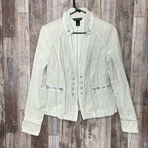 White House black market silver jacket
